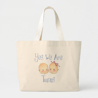 Yes we are twins -  Boy Girl Blue Large Tote Bag