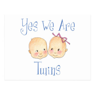 Yes we are twins -  Boy Girl Blue Post Card