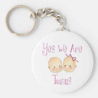 Yes we are twins - Boy Girl Pink Keychain