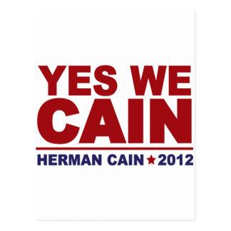 Yes We Cain Herman Cain 2012 Postcard