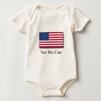 Yes We Can - American Flag Baby Bodysuit