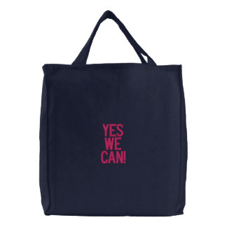 YES WE CAN EMBROIDERED BAG