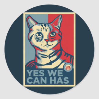 Yes We Can Has Classic Round Sticker