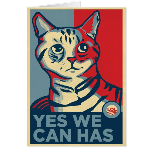 Yes we can has greeting card zazzle for Bett yes we can