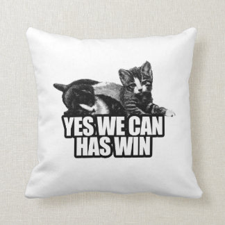 YES WE CAN HAS WIN.png Throw Pillows