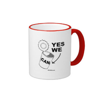 YES WE CAN OF SOUP RINGER COFFEE MUG