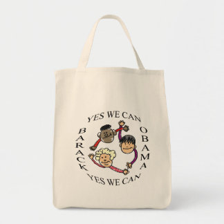 Yes We Can  Support Barack Obama tote Tote Bags