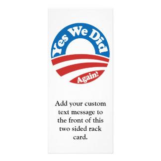Yes We Did, Again! Full Color Rack Card