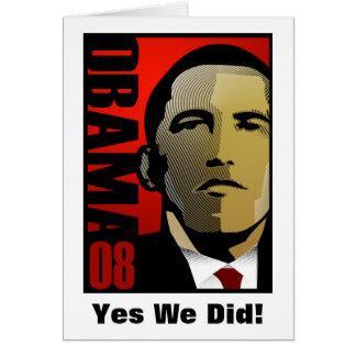 Yes We Did! Barack Obama Card