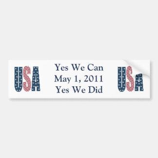 Yes We Did Bin Laden Dead Bumper Sticker