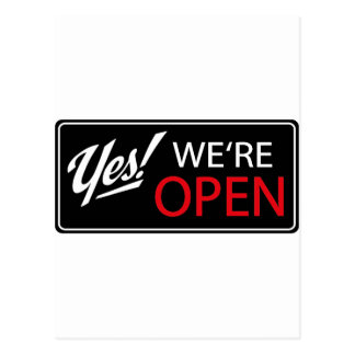 yes, we're open! postcard