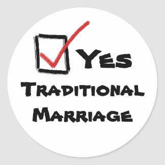 yes, Yes, TraditionalMarriage Classic Round Sticker