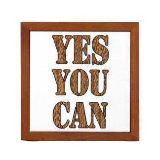 Yes You Can - Motivational Quote, Tiger Print Pencil Holder