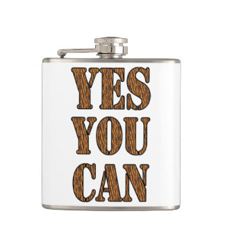 Yes You Can - Motivational Quote, Tiger Print Flasks
