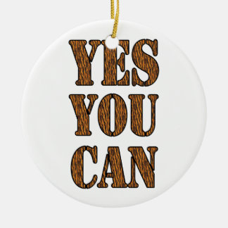 Yes You Can - Motivational Quote, Tiger Print Double-Sided Ceramic Round Christmas Ornament