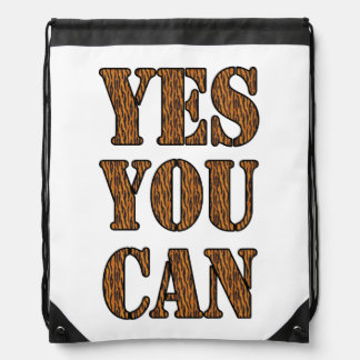Yes You Can - Motivational Quote, Tiger Print Drawstring Bag