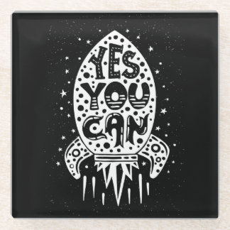 Yes You Can Rocketship Glass Coaster