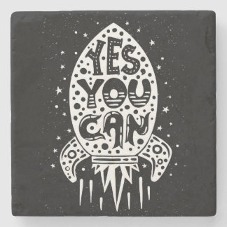 Yes You Can Rocketship Stone Coaster