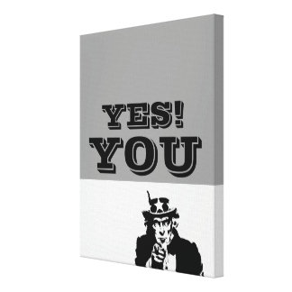 YES! YOU Uncle Sam Canvas Black and White Canvas Print
