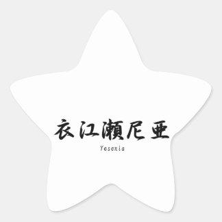 Yesenia tradujo a símbolos japoneses del kanji calcomanías forma de estrellas