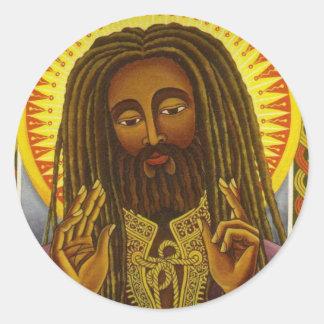 Yeshu Rasta Fari Round Stickers