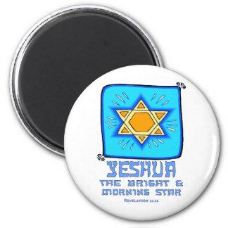 Yeshua el brillante y el lucero del alba imán redondo 5 cm