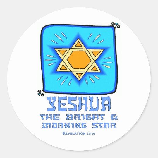 Yeshua el brillante y el lucero del alba pegatina redonda