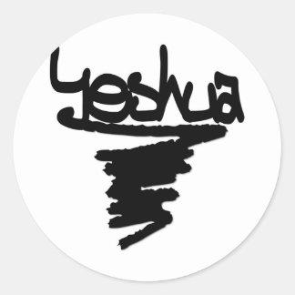 Yeshua peinture noire classic round sticker