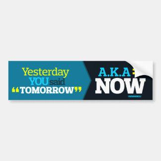Yesterday YOU Said TOMORROW aka TODAY Inspiration Bumper Sticker