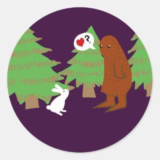 Yeti and Bunny Discuss Love Classic Round Sticker