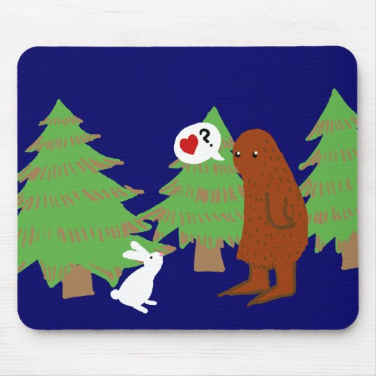 Yeti and Bunny Discuss Love Mouse Pad