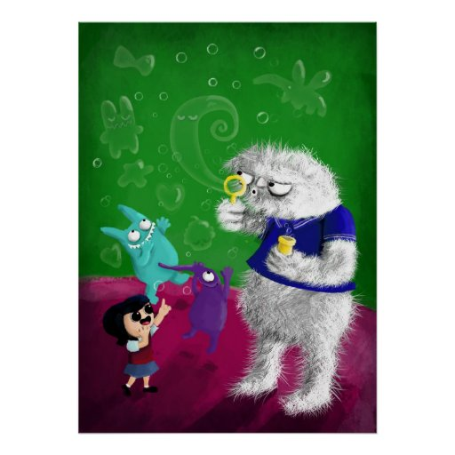 Yeti blowing Bubbles Posters