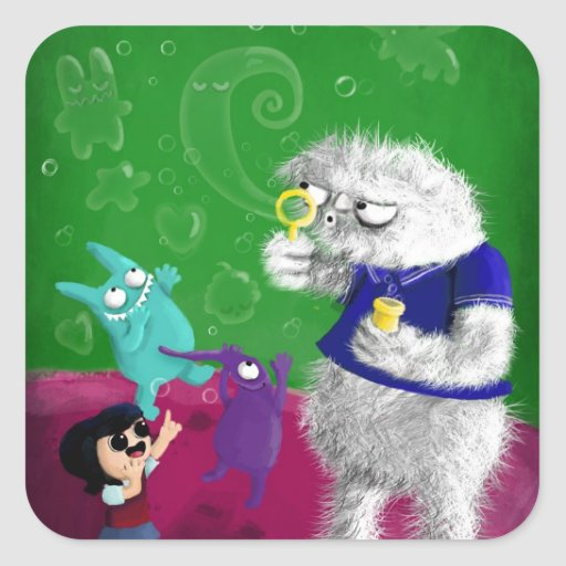 Yeti blowing Bubbles Square Sticker