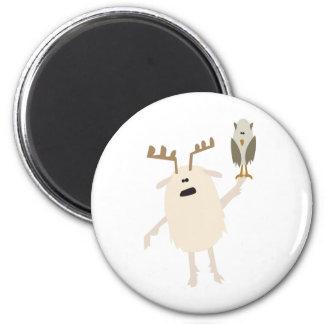 Yeti & Owl 2 Inch Round Magnet