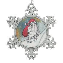 Yeti Santa Snowflake Pewter Christmas Ornament