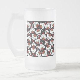 Yeti Xmas pattern Frosted Glass Beer Mug