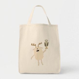 Yeti y búho bolsa tela para la compra