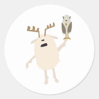 Yeti y búho pegatina redonda