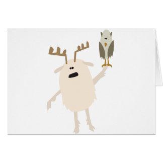 Yeti y búho tarjeta de felicitación