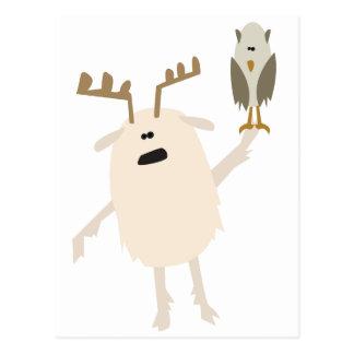 Yeti y búho tarjeta postal
