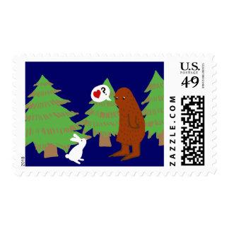 Yeti y el conejito discuten amor sellos postales