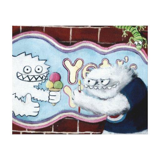 Yeti y su logotipo lona envuelta para galerías