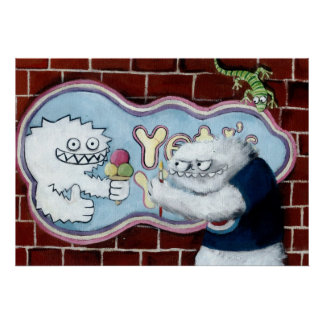 Yeti y su logotipo poster