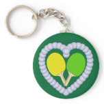 YG Ping Pong Paddle Heart Basic Round Button Keychain