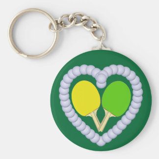 YG Ping Pong Paddle Heart Keychain