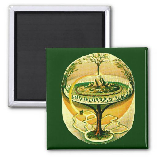 Yggdrasil, Tree Of Life 2 Inch Square Magnet