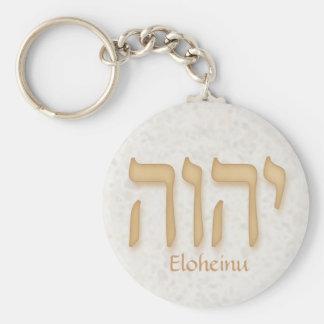 YHVH Eloheinu Modern Hebrew Basic Round Button Keychain
