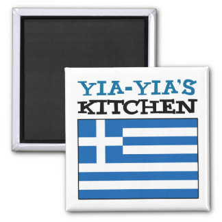 Yia-Yia's Kitchen With Flag Of Greece Magnet