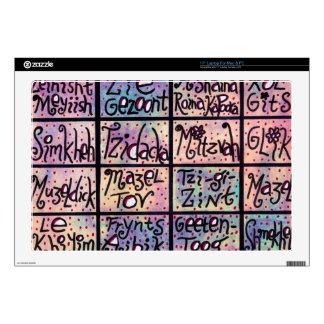 """Yiddish Positive Phrases 17"""" Laptop Skins"""