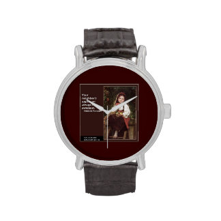 Yiddish Saying & Graphic Painting on Unisex Watch Wristwatches